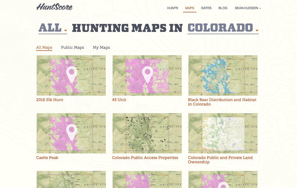 HuntScore map landing page