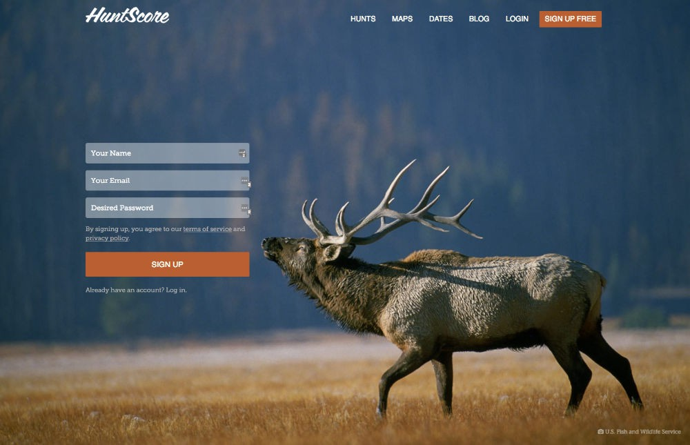 HuntScore registration screen
