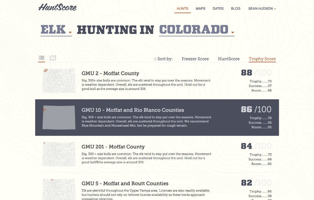 HuntScore search results